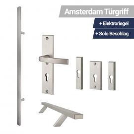 Amsterdam Türgriff Traverse+ Elektroriegel + Solo Beschlag