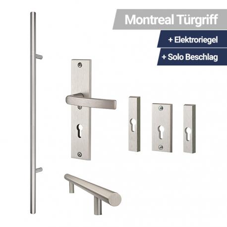 Montreal Türgriff Gerade + Elektroriegel + Solo Beschlag